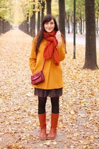 mustard Zara coat - burnt orange Swedish Hasbeens boots - black Zara dress