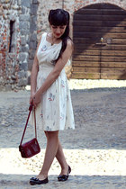 off white BHLDN dress - brick red handmade bag - black bait footwear flats