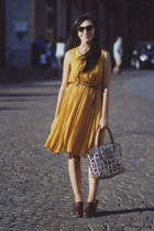 mustard from a little shop in London dress - dark brown max&co shoes