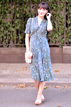 periwinkle Orla Kiely dress - off white french and english confectioners bag