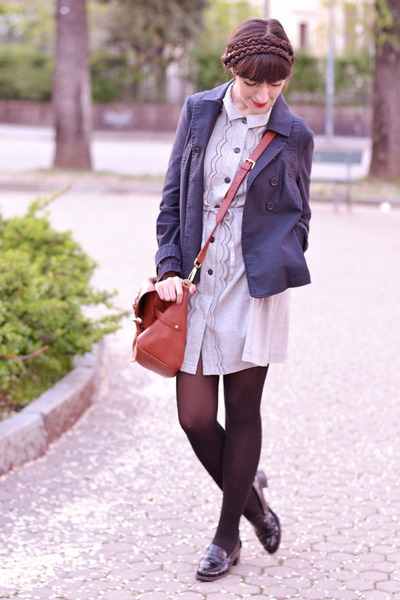 periwinkle Dear Creatures dress - navy max&co jacket - black Calzedonia tights