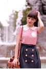Navy-orla-kiely-skirt-brown-lush-bag-ruby-red-pepa-loves-blouse