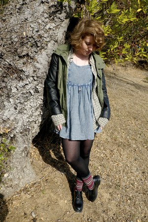 sky blue denim Urban Outfitters dress - dark green pleather Forever 21 jacket