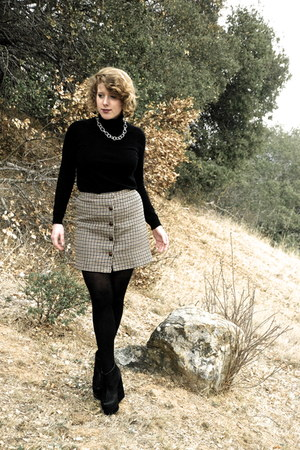 black knit asos sweater - beige tweed Goodwill skirt - black platform H&M wedges