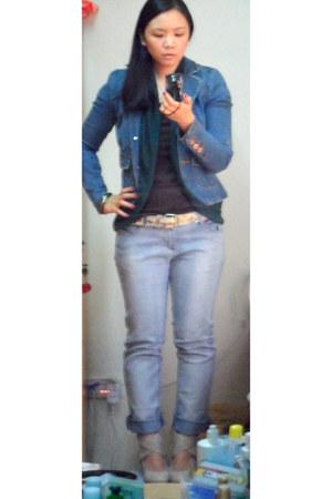 denim Forever 21 jacket - Max jeans - Stradivarius shirt - Stradivarius belt