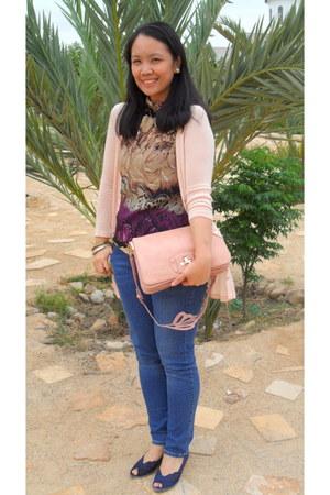 halter neck-tie H&M blouse - Levis jeans - Mango cardigan