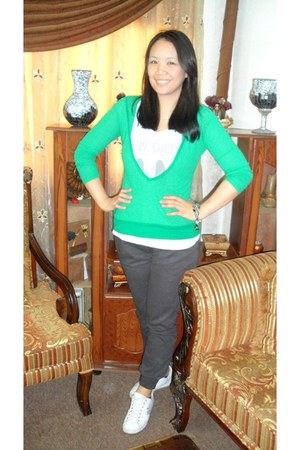 Zara shirt - H&M cardigan - Terranova pants - baby phat sneakers