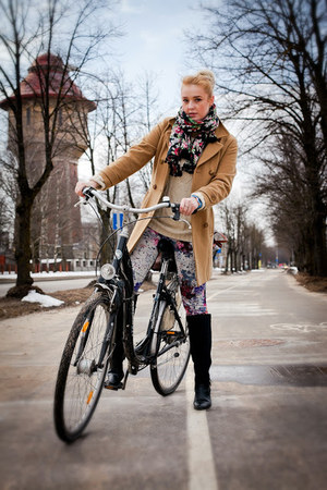 floral H&M leggings - Zara boots - vintage coat - Grandmas closet sweater