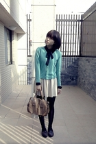 black blouse - green sweater - beige skirt - black tights - brown shoes - brown