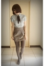 Blue-blouse-silver-skirt-gray-tights-brown-shoes-green-sweater