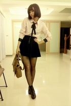 pink blouse - black skirt - black tights - black socks - black shoes - brown pur
