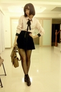Pink-blouse-black-skirt-black-tights-black-socks-black-shoes-brown-pur