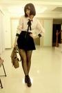 Pink-blouse-black-skirt-black-tights-black-socks-black-shoes-brown-pur