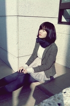 silver sweater - brown blazer - beige skirt - gray tights - black tights - brown