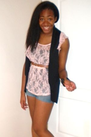 black Urban Outfitters vest - pink yaya top - hollister shorts