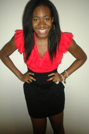 red H&M blouse - black American Apparel skirt