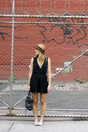 black ADAM romper - bronze sperry shoes - brown Billykirk hat