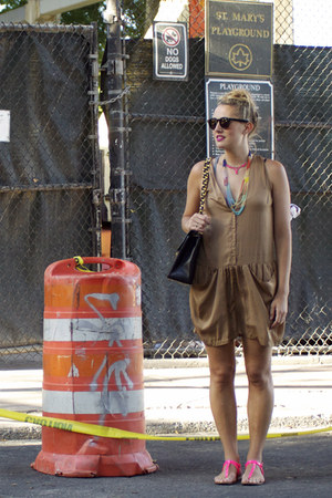 dark khaki draped romper H & M romper - black Chanel bag - hot pink Zara sandals