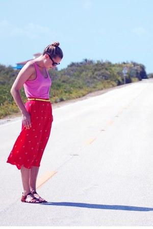 red madewell skirt - light brown JCrew sandals - bubble gum JCrew top