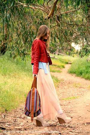 blazer - colorful bag - wood adorable wedges - long skirt skirt