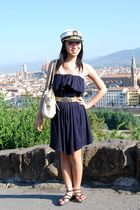 blue dress - brown belt - black shoes - beige Smartset purse