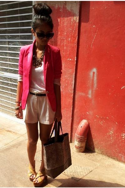 Zara blazer - new look bag - Valleygirl shorts