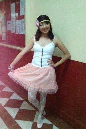 tutu skirt skirt - corset top - old ribbon stocking stockings - Parisian shoes -