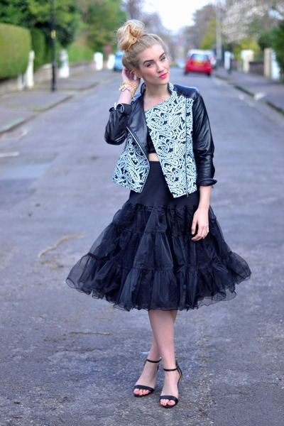 black paisley biker Boohoo jacket - black tutu skirt Pretty Disturbia skirt
