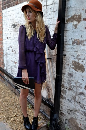 deep purple chiffon ruffled sugarhill boutique dress
