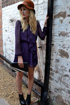 deep purple chiffon ruffled sugarhill boutique dress