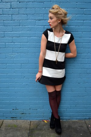 maroon new look socks - black Primark boots - navy Wal G dress