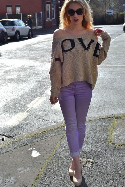 light purple new look shorts - beige Love jumper - neutral bank heels