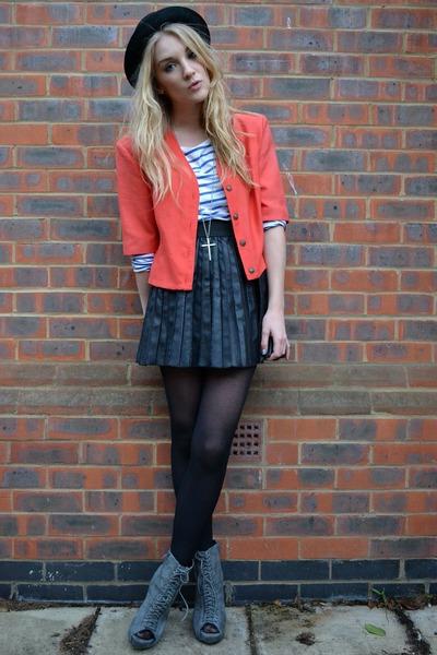 coral vintage jacket - gray Ella Tino boots - black bowler hat H&M hat