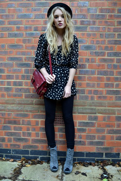 red satchel bag Primark bag - gray Ella-Tino boots - navy Leila London dress