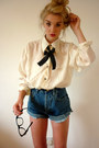 Blue-denim-cut-offs-thrifted-shorts-black-silk-ribbon-haberdashery-accessories