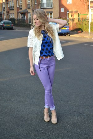 light purple new look jeans - blue Wal G dress - cream vintage jacket