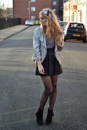 black Primark skirt - black Primark boots - silver Topshop jacket