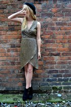 black Primark boots - bronze TFNC LONDON dress - black bowler hat H&M hat