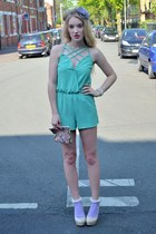 green Want Her Dress romper - light purple Topshop socks - neutral bank heels