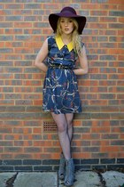 maroon Primark hat - gray Ella-Tino boots - navy Lovestruck dress