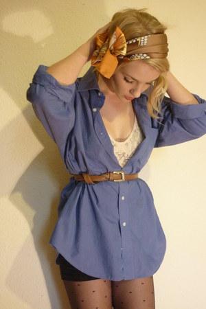blue thrifted shirt - tawny vintage belt - black Primark tights - orange thrifte