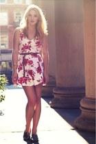 silver vintage shoes - red floral skater new look dress