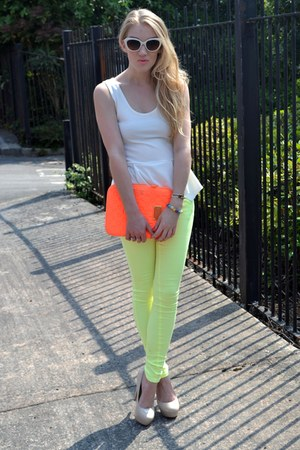 cream peplum top OMG Fashion top - yellow Glamorous jeans