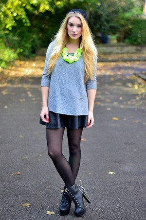 yellow neon necklace H&M necklace - black Tribeca Shoes boots