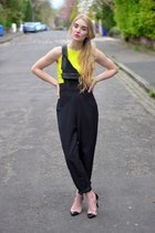 yellow neon crop Boohoo top - black dungarees Boohoo romper