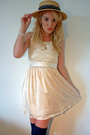 light brown straw boater Ebay hat - cream lace and silk LoveClothing dress