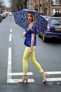 Light-yellow-pop-couture-jeans-neutral-new-look-heels-blue-vintage-top