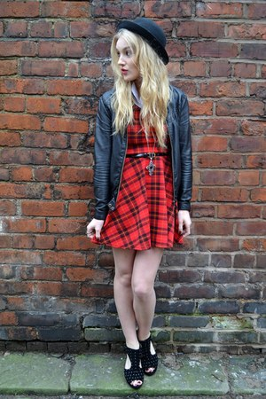red Republic dress - black bowler hat H&M hat - black new look jacket