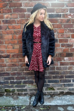 black Motel coat - black vintage boots - brick red Ella-Tino dress