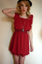 ruby red red Lovestruck dress - black bowler H&amp;M hat - black cameo handmade neck